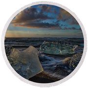 Large Icebergs At Dawn #4 - Iceland Round Beach Towel