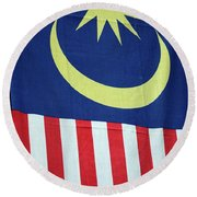 Large Malaysia Flag On Doorway Georgetown Penang Malaysia Round Beach Towel