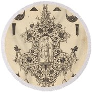 Large Pendant, Temperance Standing At Centre Round Beach Towel