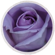 Large Purple Rose Center - 002 Round Beach Towel