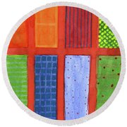 Large Rectangle Fields Between Red Grid  Round Beach Towel