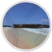 Large Rock Formation Just Off The Beach At Boca Keto Round Beach Towel