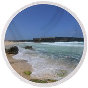Large Rock Formation On The Beach At Boca Keto Round Beach Towel