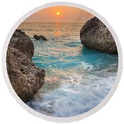 Large Rocks And Wave With Sunset On Paradise Island Greece Round Beach Towel