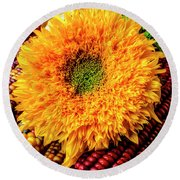 Large Sunflower On Indian Corn Round Beach Towel