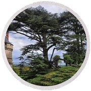 Large Trees At Chateau De Chaumont Round Beach Towel