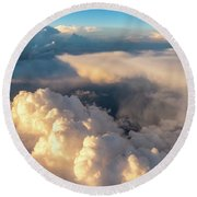 Large White Cloud From Passanger Airplace Window At Sunset Round Beach Towel