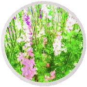 Larkspur Flowers In Soft Oil Style Round Beach Towel