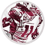 Larry Fitzgerald Arizona Cardinals Pixel Art 1 Round Beach Towel