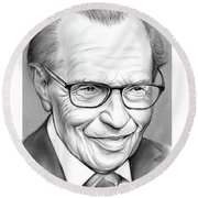 Larry King Round Beach Towel