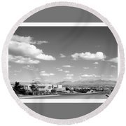 Las Cruces Mountains Black And White Round Beach Towel