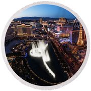 Las Vegas Lights Round Beach Towel