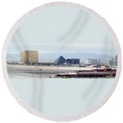 Las Vegas Pano Section 1 Of 3 Round Beach Towel