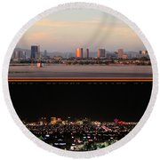 Las Vegas Skyline At Dawn And At Night Round Beach Towel