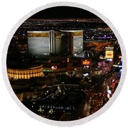 Las Vegas Strip Round Beach Towel by Kristin Elmquist