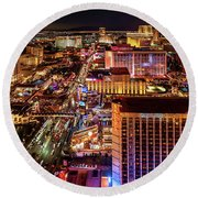 Las Vegas Strip North View Night 2 To 1 Ratio Round Beach Towel