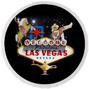 Las Vegas Symbolic Sign Round Beach Towel