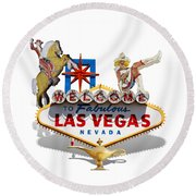 Las Vegas Symbolic Sign On White Round Beach Towel