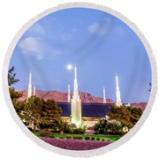 Las Vegas Temple Moon Round Beach Towel