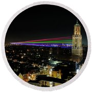 Laser Beams On The Dom Tower In Utrecht 23 Round Beach Towel