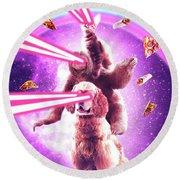 Laser Eyes Space Cat Riding Sloth, Dog - Rainbow Round Beach Towel