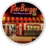 Last Burger On Land Round Beach Towel