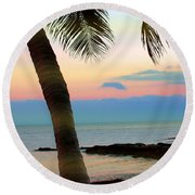 Last Evening Lights Round Beach Towel