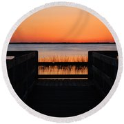 Last Glow Over The Water Round Beach Towel