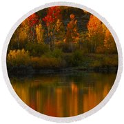 Last Light At Oxbow Bend  Round Beach Towel