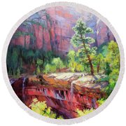 Last Light In Zion Round Beach Towel