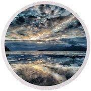 Last Light Isle Of Rum From Isle Of Eigg Round Beach Towel