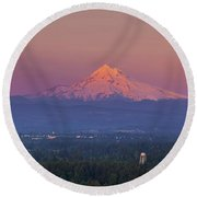 Last Light On Mount Hood From Rocky Butte Round Beach Towel