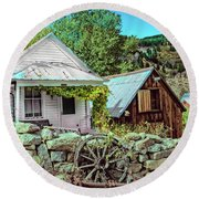 Last Post Office And Ice House Round Beach Towel