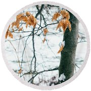 Last Snowy Leaves Round Beach Towel