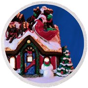 Last Stop For Santa Round Beach Towel