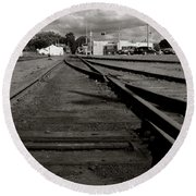 Last Train Track Out Round Beach Towel