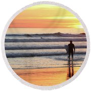 Last Wave Of The Day Round Beach Towel