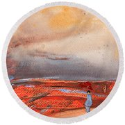 Late Afternoon 34 Round Beach Towel