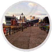 Late Afternoon At Albert Dock Round Beach Towel