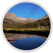 Late Afternoon At Mcclure Meadow Round Beach Towel