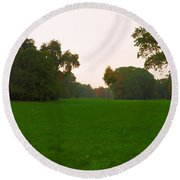 Late Afternoon In The Park Round Beach Towel