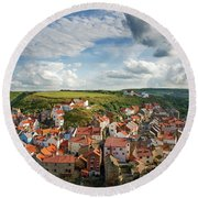 Late Afternoon Light On Staithes Round Beach Towel