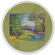 Late Afternoon Shadows Round Beach Towel