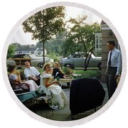Late Afternoon Summer Party Round Beach Towel