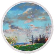 Late Afternoon Round Beach Towel