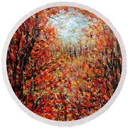 Late Autumn Round Beach Towel