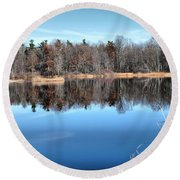 Late Autumn Reflections Round Beach Towel