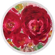 Late Autumn Rose Round Beach Towel