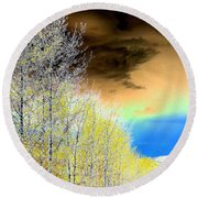 Late Autumn Round Beach Towel by Will Borden