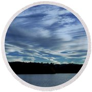 Late Day Clouds Over Mountainss Round Beach Towel